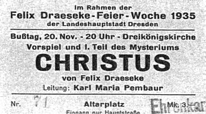 Ticket for a 1935 performance of Draeseke's Christus